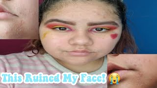 A Face Mask Ruined My Face! *DONT DO WHAT I DID* +makeup look