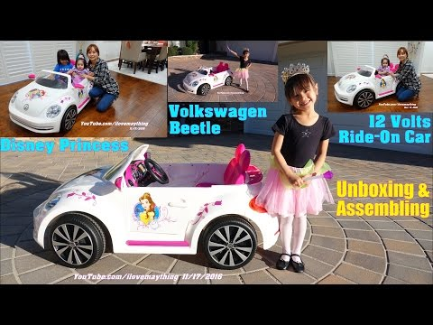 Power Wheels Disney Princess Ride-On Car. Volkswagen Beetle Convertible Toy Car Unboxing