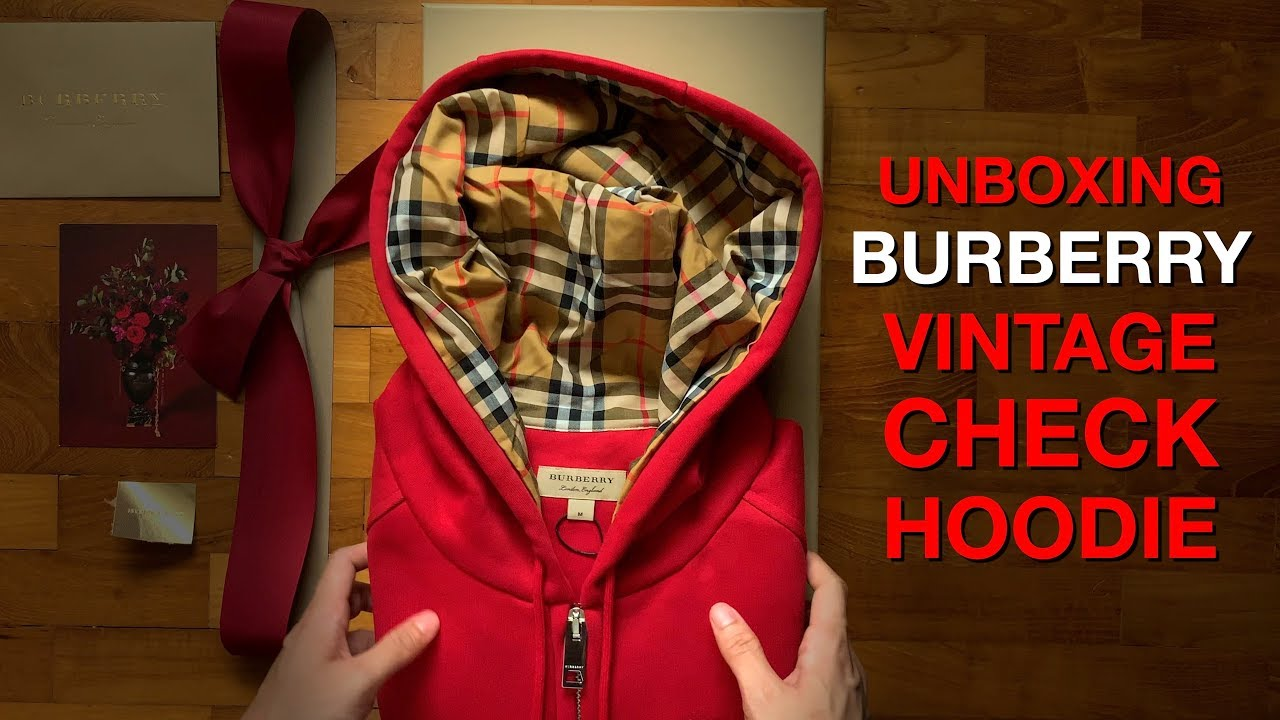 Unboxing Things: Burberry's Vintage Check Detail Jersey Hooded Top