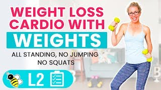 WEIGHT LOSS CARDIO with WEIGHTS, 25 minute low impact workout 🔥 Burn 200 calories
