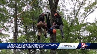 Girl, 12, dangling by ankles from high-ropes course rescued