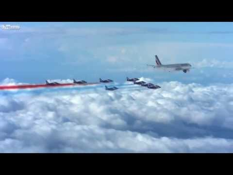 Patrouille of France escorting an Air France passenger jet (HD)