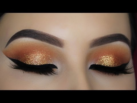 Warm Orange Glitter Eye Makeup Tutorial