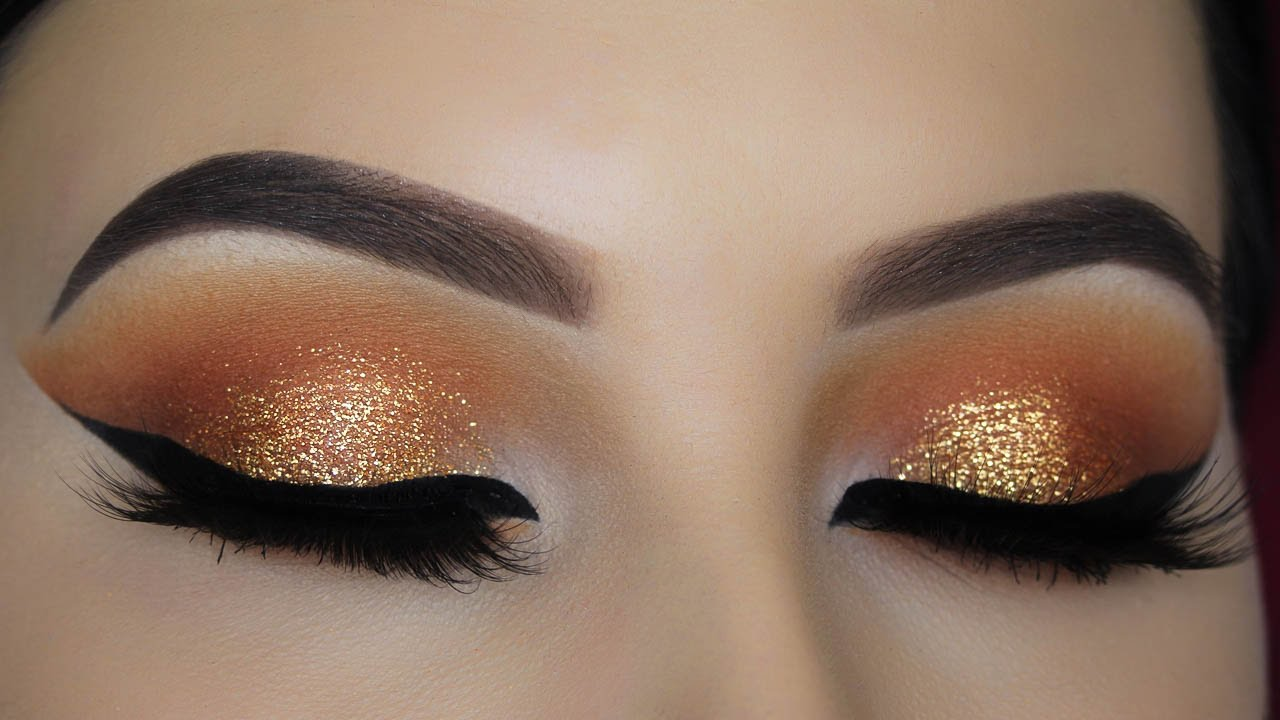 Warm Orange Glitter Eye Makeup Tutorial Youtube