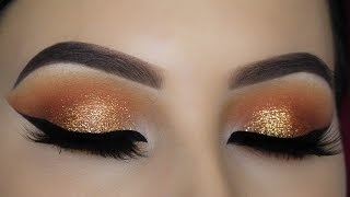 warm orange glitter eye makeup tutorial