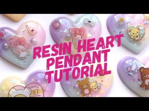 Resin Heart Pendant Tutorial for Beginners | pastel colours