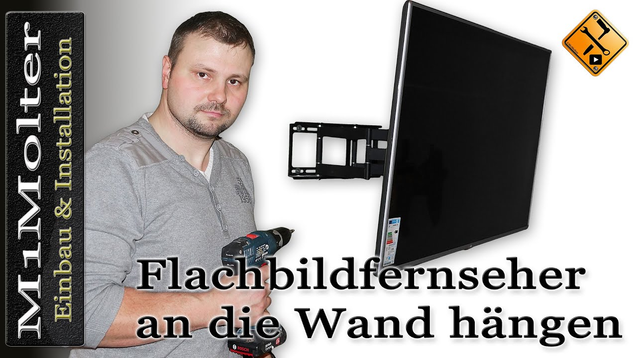 flachbildfernseher an die wand h ngen so geht s m1molter youtube. Black Bedroom Furniture Sets. Home Design Ideas