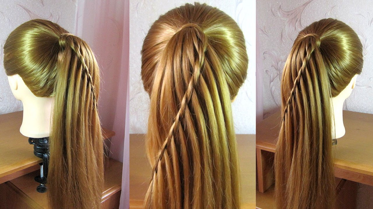 waterfall braid ponytail tutorial