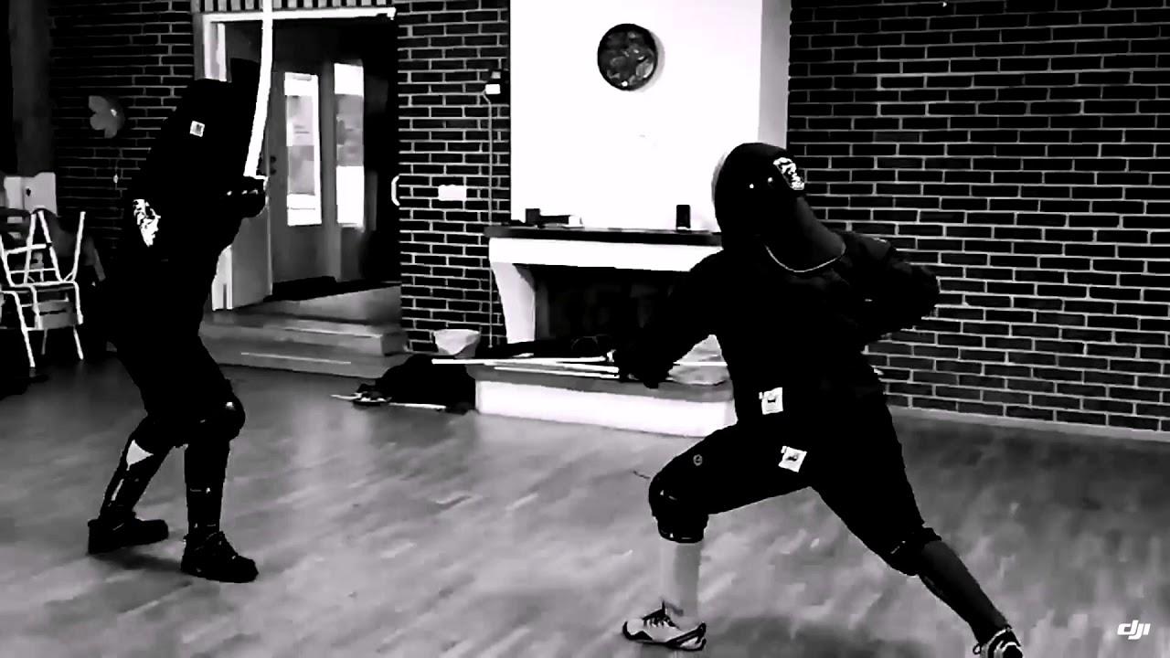 Military sabre abre fencing in slow motion  Särimner historical European  martial arts