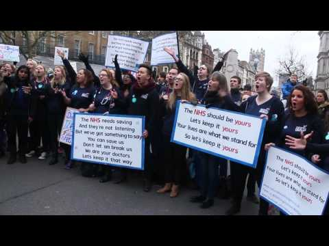 National Health Singers at Downing Street, London 6th February 2016.