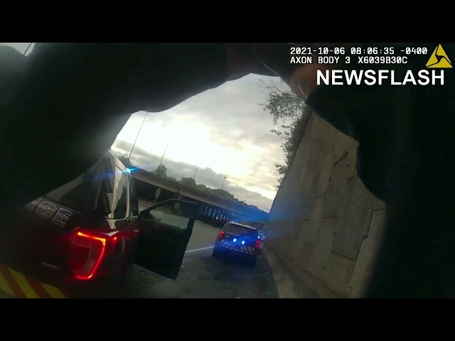 Moment Atlanta Cop Hit By Car While Investigating Roadside Accident