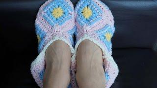 Тапочки из квадратных мотивов крючком / Crochet square motif slippers