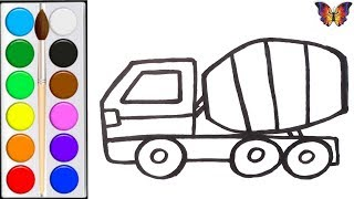 Как нарисовать БЕТОНОМЕШАЛКУ /  мультик раскраска БЕТОНОМЕШАЛКА  для детей / Раскраски малышам