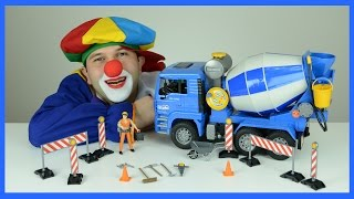 Construction Vehicles | Video for Kids | Live Shoot  | Clown Bingo and Bruder Cement Mixer UNBOXING