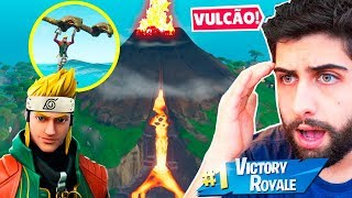 I PLAYED WITH NARUTO'S SKIN AND FELL INTO THE * NEW * VOLCANO! -FORTNITE