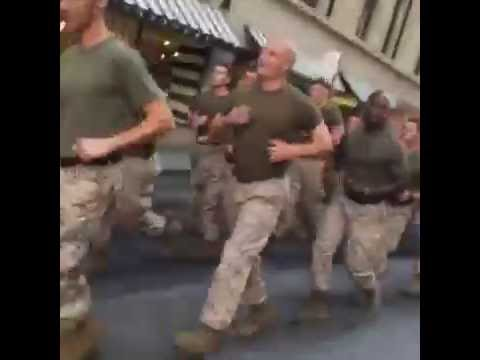 US Marines Motivational Run in NYC at World Trade Center Memorial