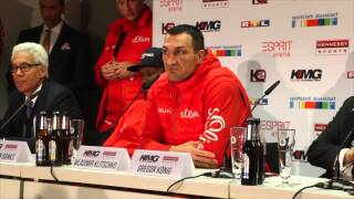 WLADIMIR KLITSCHKO SHOWS HIS CLASS BY CONGRATULATING NEW CHAMPION TYSON FURY AT PRESS CONFERENCE