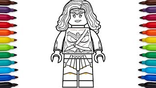 How to draw Lego Wonder Woman from Batman v Superman and Wonder Woman - DC Comics
