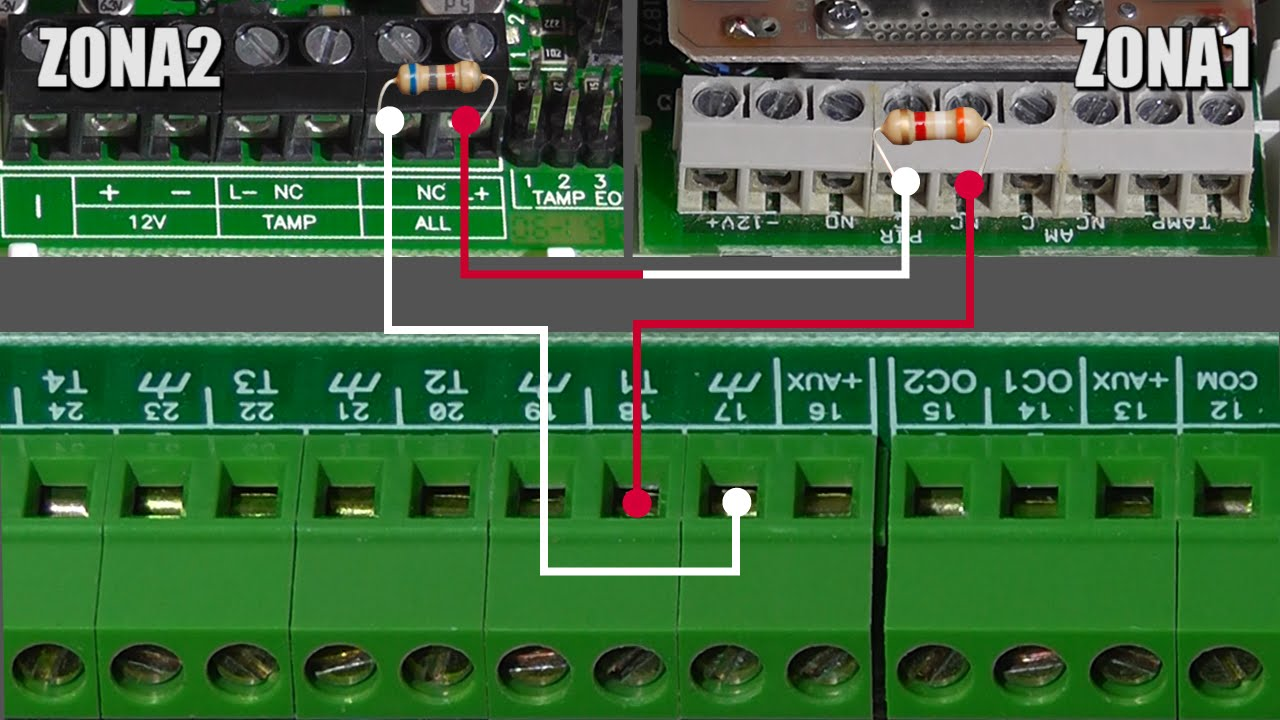 Schema Collegamento Antifurto Filare : Collegamento in zona doppia di due sensori su un unico