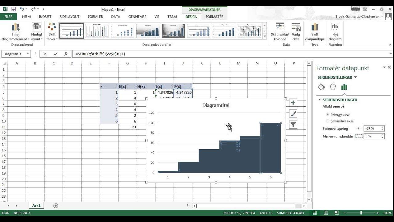 Trappediagram i Excel 2013