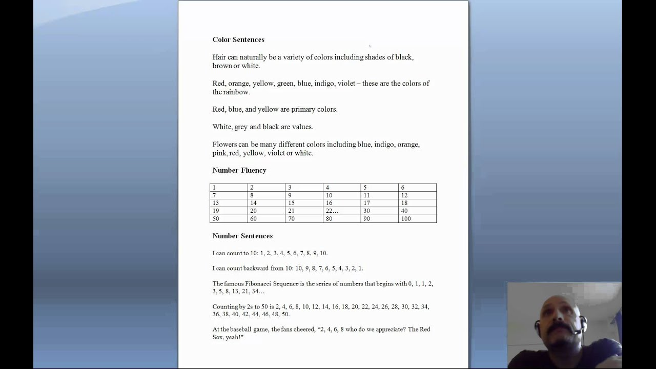 Rapid naming worksheet colors and numbers - YouTube