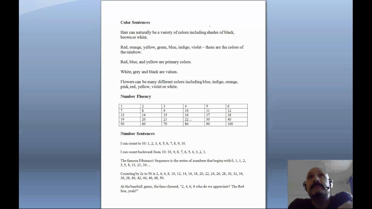 Rapid Naming Worksheet Colors And Numbers