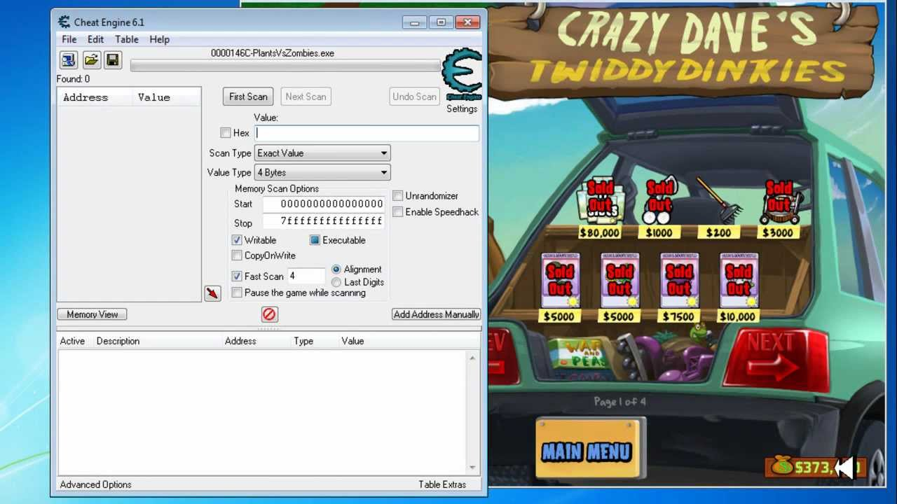 Plants vs Zombies Money Hack Using Cheat Engine 6.1 - YouTube