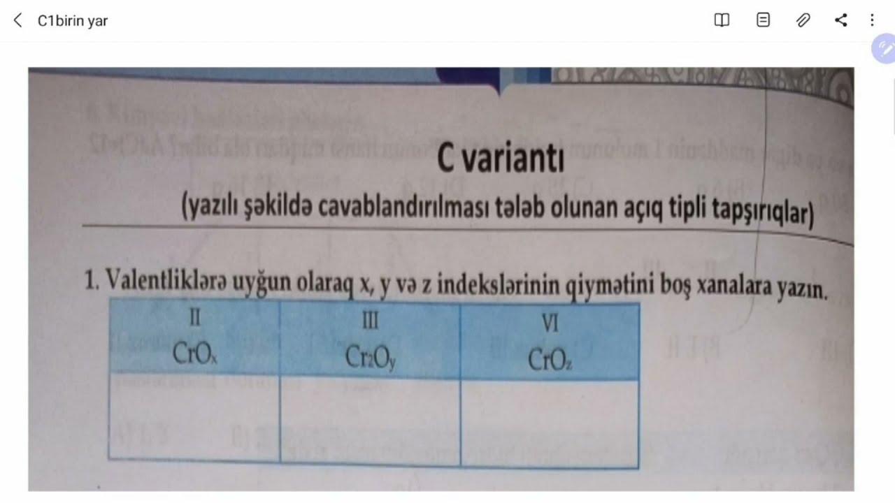 Kimya dim 1ci yarimil C2 izah Online hazırlıq üçün əlaqə 0706989981