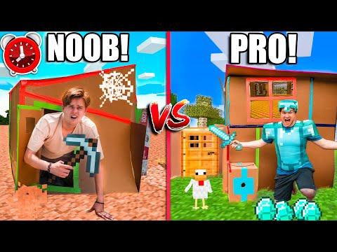 Real Life MINECRAFT Box Fort - Minecraft NOOB Vs PRO! 24 Hour Challenge DAY 6
