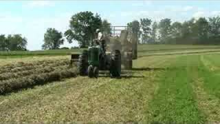 Baling Hay With A John Deere 630 Tractor And 336 Baler.