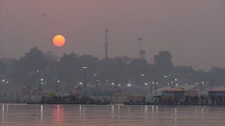 Sunset view at the holy Kumbh Mela - Hindu pilgrimage