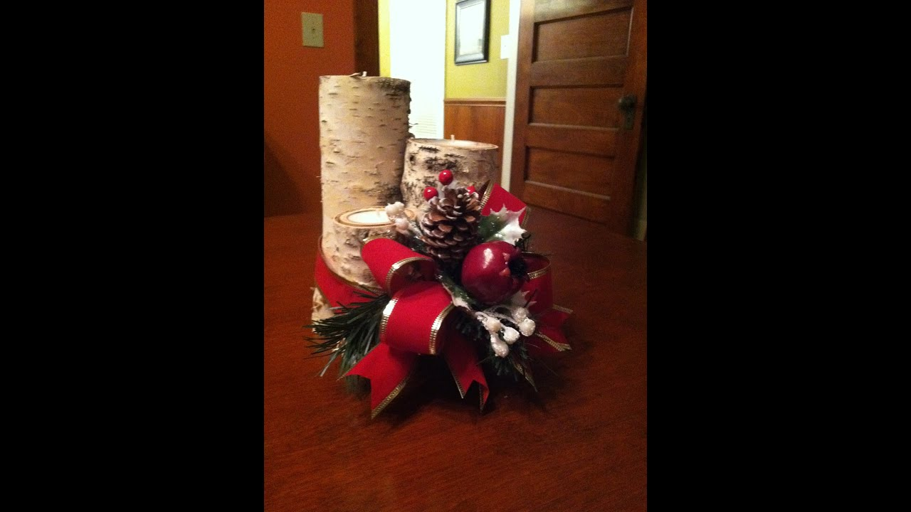 christmas centerpiece making with birch logs and votive candles youtube - Rustic Christmas Centerpieces