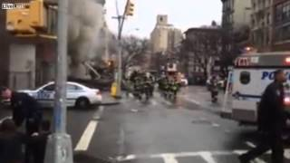 East Village NYC explosion   aftermath and fire footage
