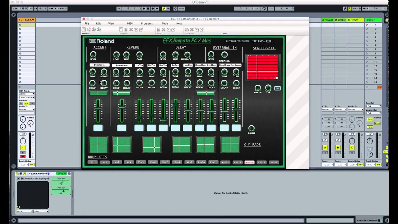 roland tr 8 and vst midi editor controller tr 8 efx remote with ableton live youtube. Black Bedroom Furniture Sets. Home Design Ideas