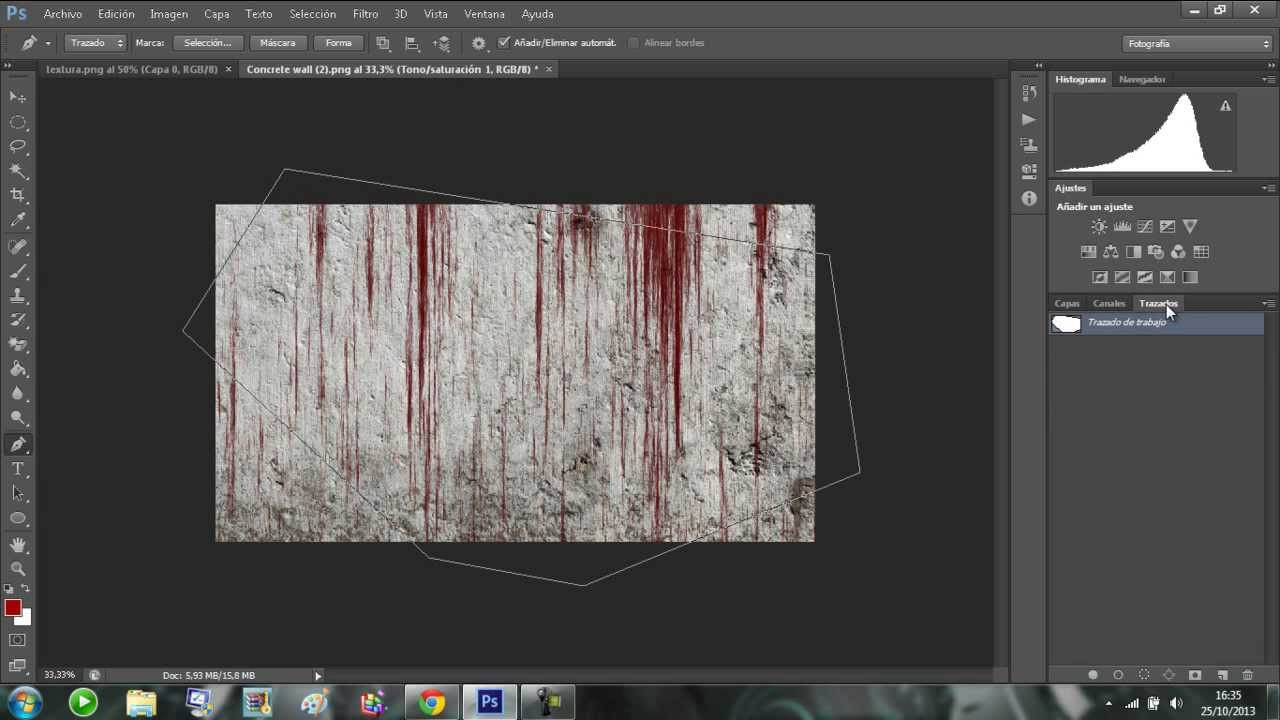 photoshop cs6  textura pared con manchas de sangre