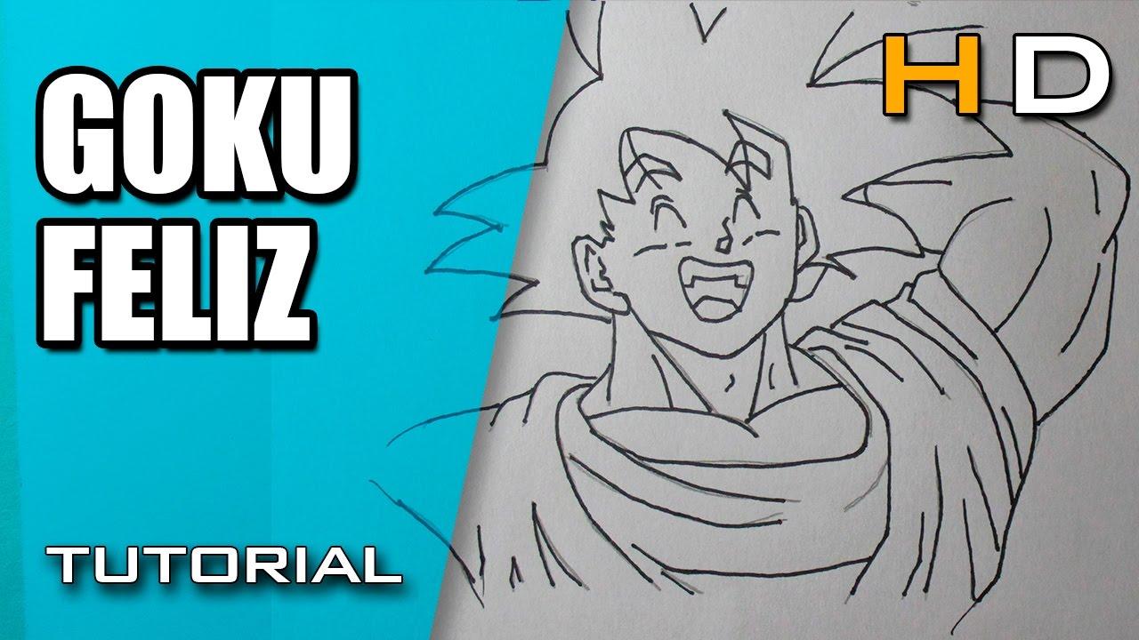 Cmo Dibujar a Goku Feliz Paso a Paso Fcil  Dibujo de Goku