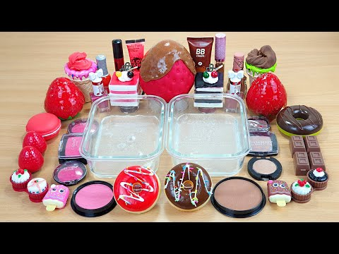 STRAWBERRY vs CHOCOLATE SLIME Mixing makeup and glitter into Clear Slime Satisfying Slime Videos