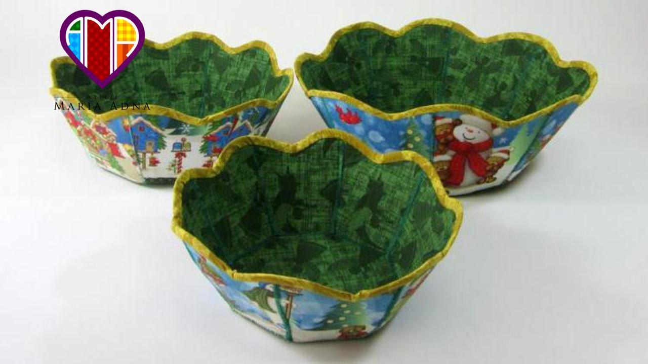Adesivo De Gato ~ Cesta de tecido de Natal em patchwork Maria Adna Atelie Christmas patchwork basket You