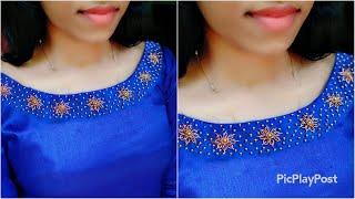 Plain kurti ഉണ്ടെങ്കില് ഉറപ്പായും ചെയത് നോക്കൂ|Handwork bead embroidery neck design|