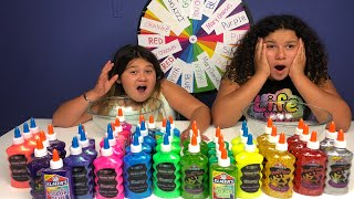 3 COLORS OF GLUE SLIME CHALLENGE CHALLENGE MYSTERY WHEEL OF SLIME EDITION