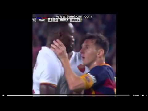 Messi headbutts and chokes Roma player Yanga-Mbiwa, crazy fight, Must see!!!