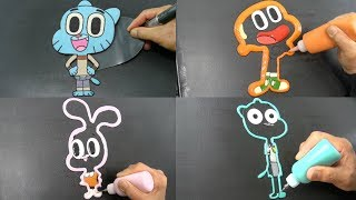 The Amazing World of Gumball Pancake Art - Gumball, Darwin, Anais, Nicole | Coloring and Drawing