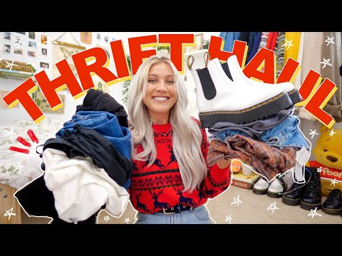 BIG THRIFT STORE TRY ON HAUL | my favorite thrift haul YET | thrifting Dr. Martens, mom jeans + MORE