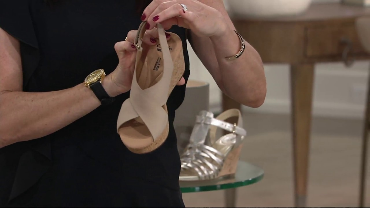db79255e9b7 Clarks Leather Cork Wedge Sandals - Annadel Eirwyn on QVC - YouTube