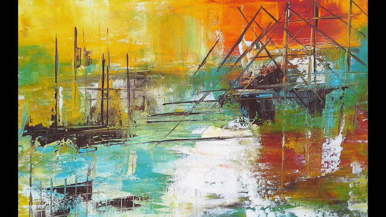the harbor-acrylmalerei-spachtel-10 min abstrakt-acrylic painting
