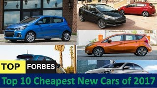 Top 10 Cheapest New Cars of 2017