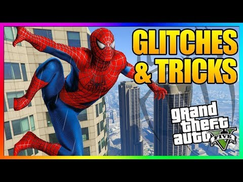 GTA 5 Online - 5 NEW GLITCHES & TRICKS (Spiderman, Invincible/God Mode, Wallbreach, Clothing Glitch)