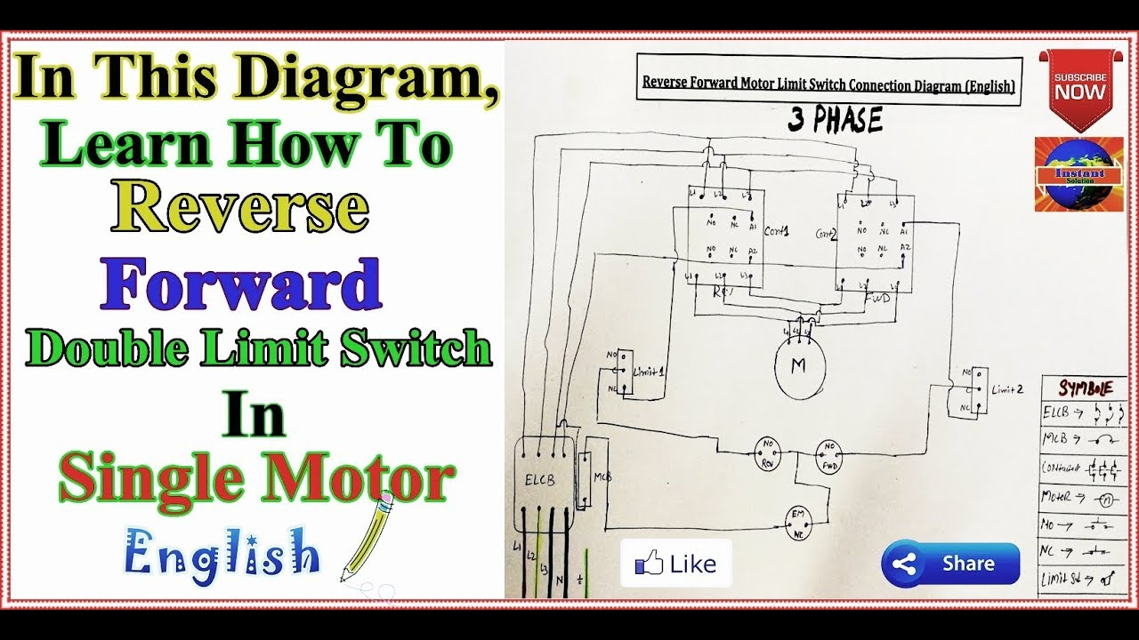 3 Phase Motor Reverse Forward Limit Switches Control Diagram In English Youtube Reverse Telephone Cables Switches