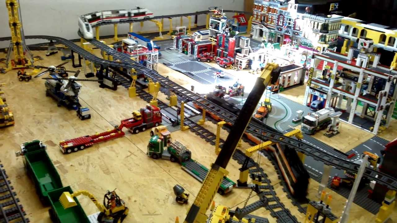 Lego Stadt Mit Zügen Tunnel 2 Ebenen Youtube