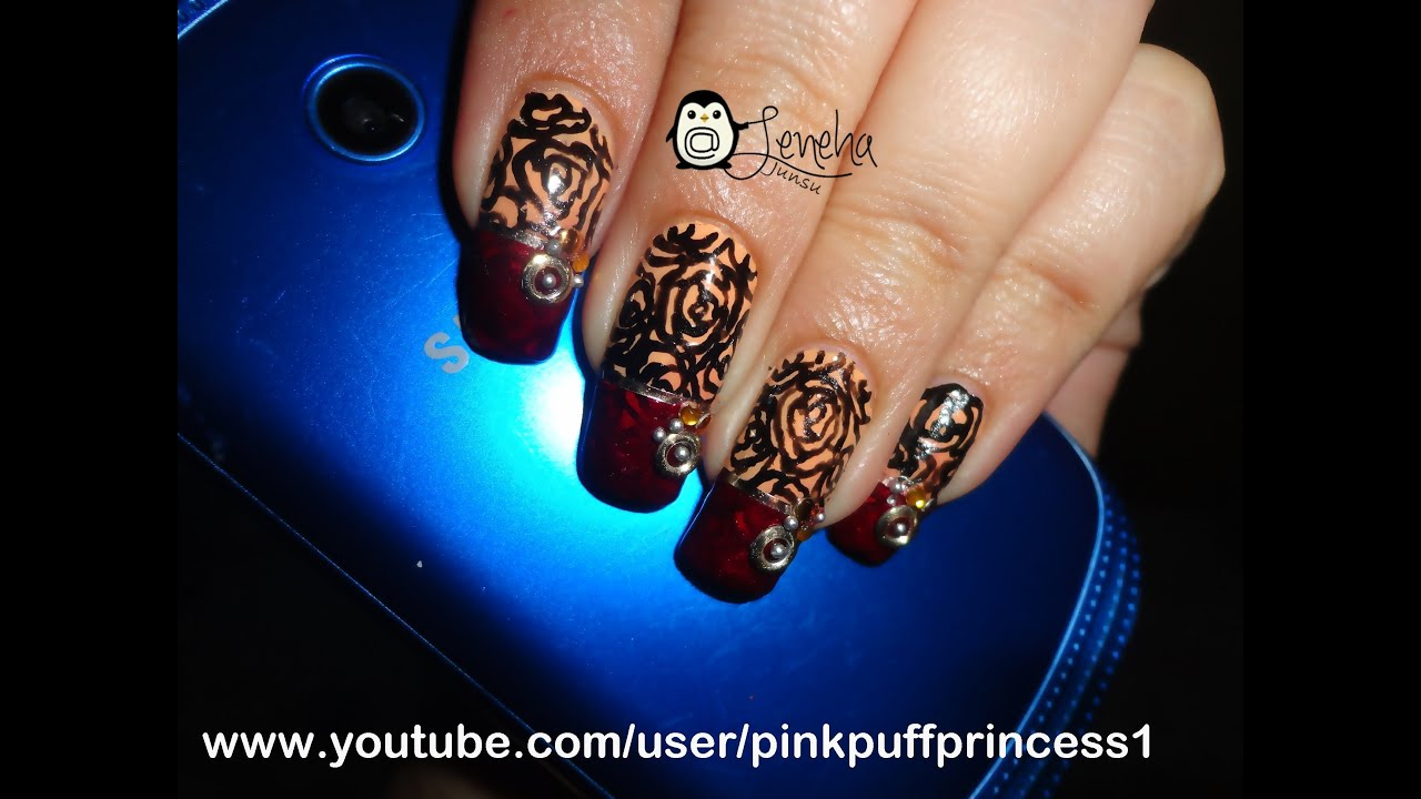 Black Flowers with Maroon Manicure Nail Art Tutorial - YouTube
